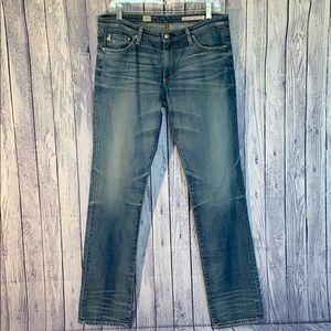 AG Premiere Skinny Straight Faded Blue Jeans, 31R